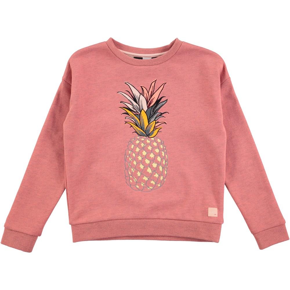 Maila  - Spicy Pink Melange - rosafarvet sweatshirt med ananastryk