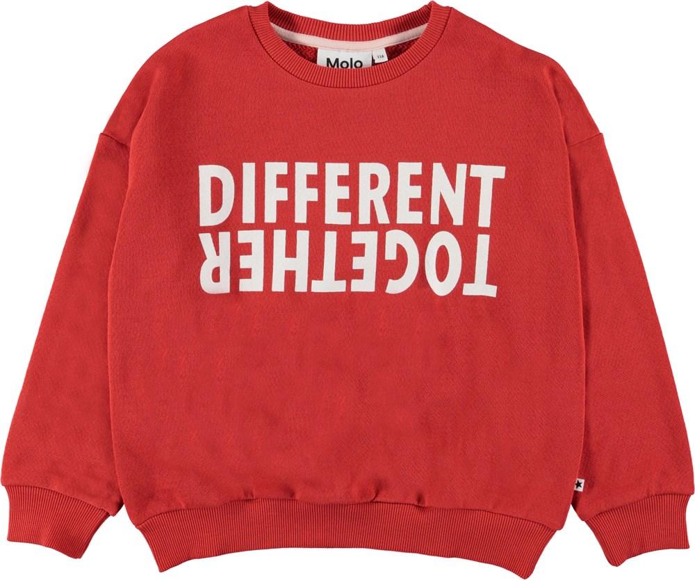 Maja - Vermilion Red - Rød sweatshirt med tekst.