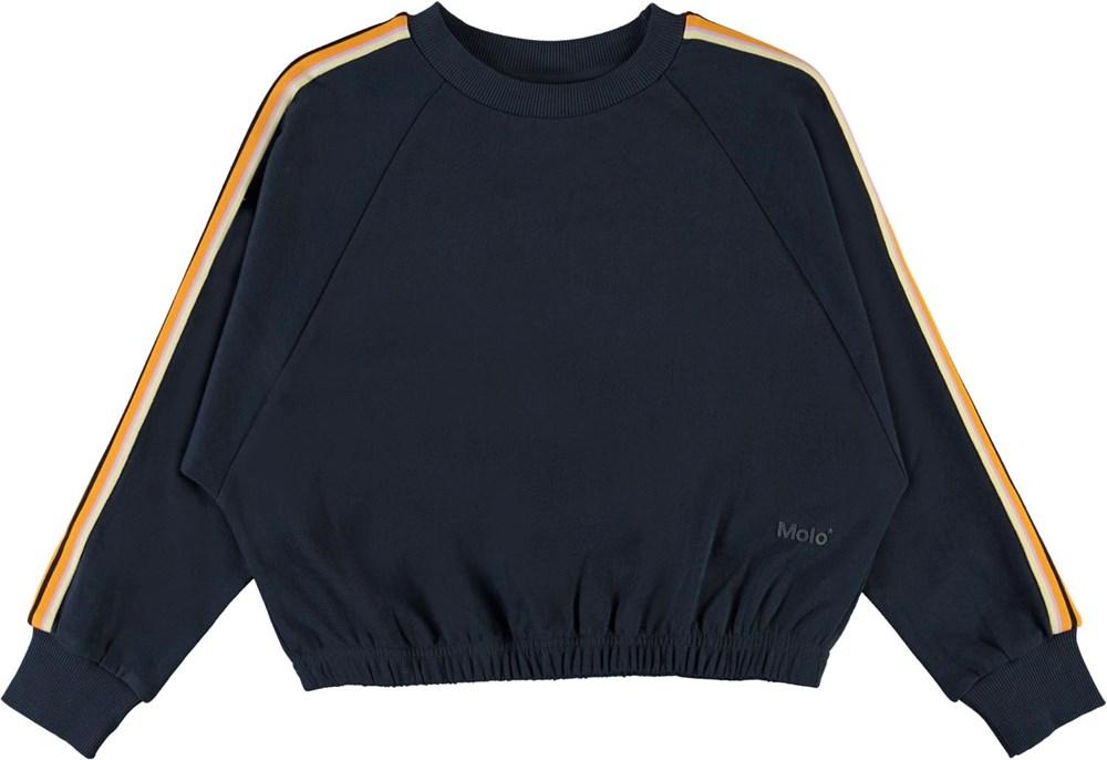 Malinda - Total Eclipse - Blå sweatshirt med stribet bånd