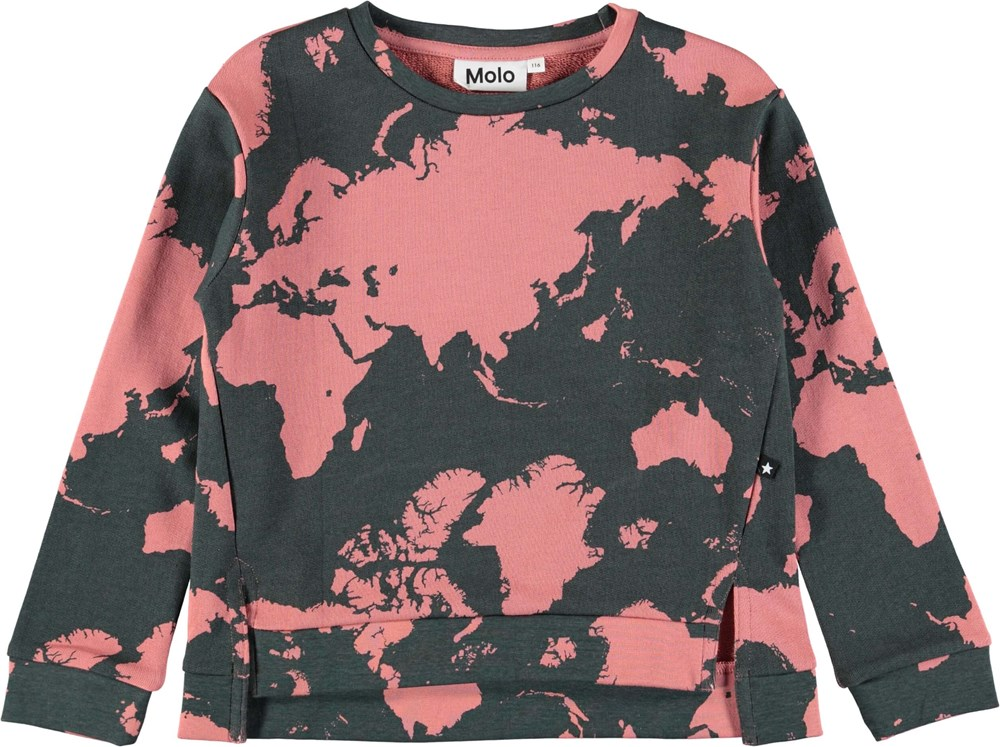 Malissa - World Map - Sweatshirt med world map digitalprint