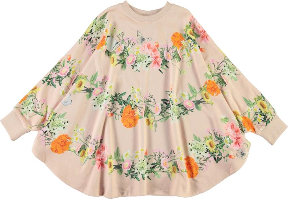Marcella - Garlands - Rosa poncho med blomster print