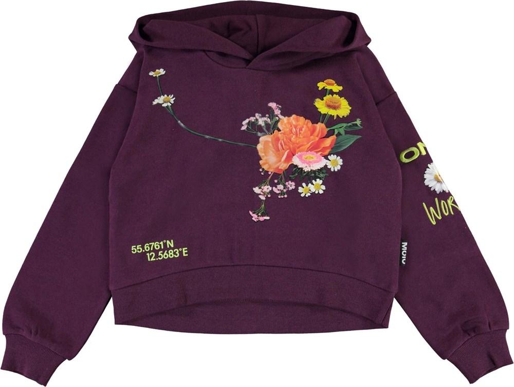 Maren - Noirberry - Lilla hoodie med blomster print