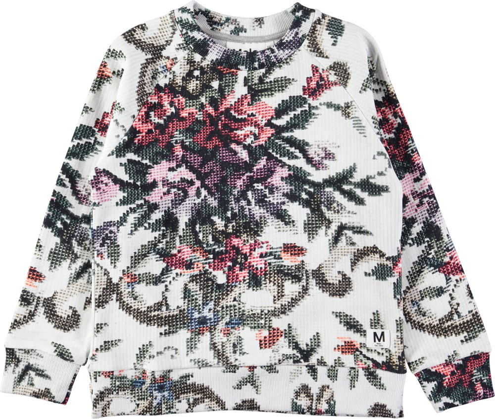 Marina - Cross Stitch - Hvid sweatshirt med digitalprintede korssting