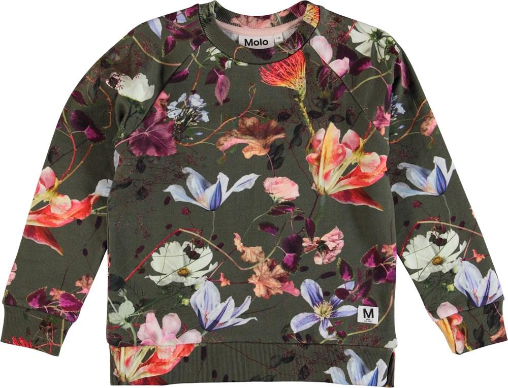 Marina - Evergreen Flowers - Blomstret sweatshirt.