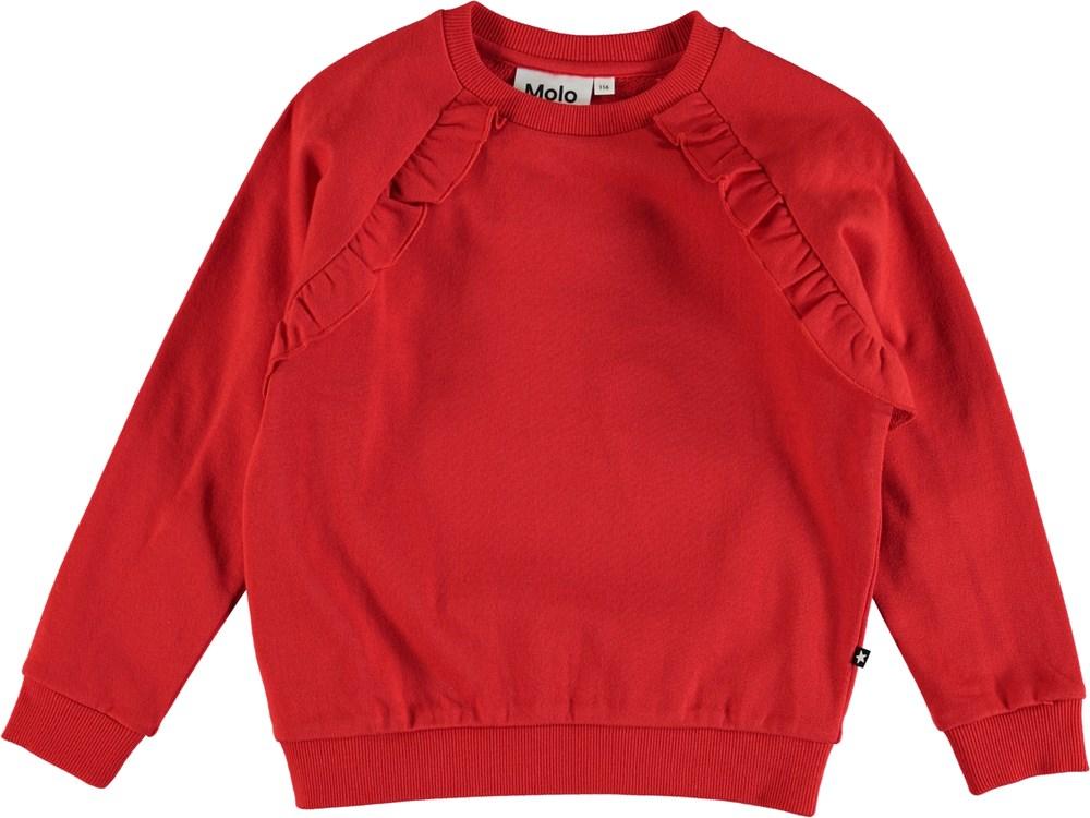 Michaela - Chili - Rød sweatshirt med flæsekant.