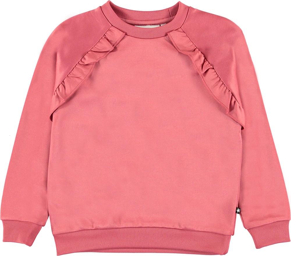 Michaela - Fairy Blossom - Rosa sweatshirt med flæse.