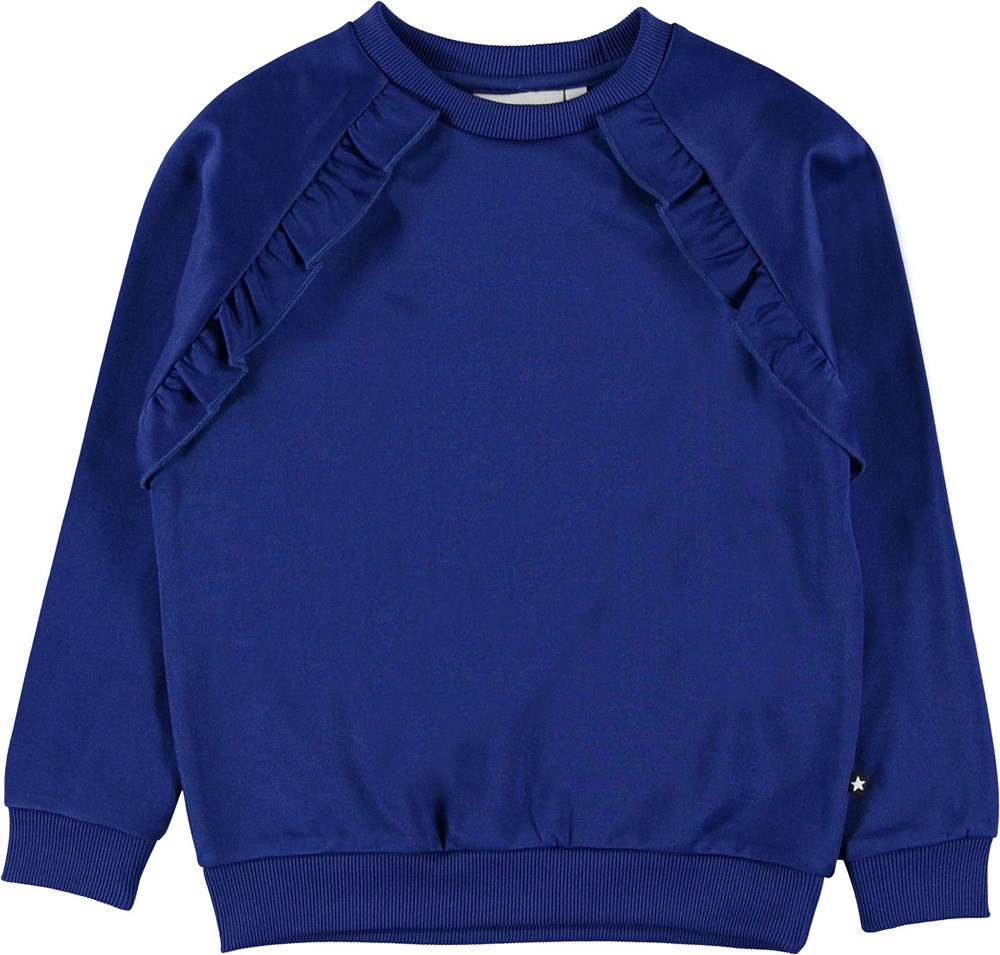 Michaela - Lapis Blue - Blå sweatshirt med flæse.