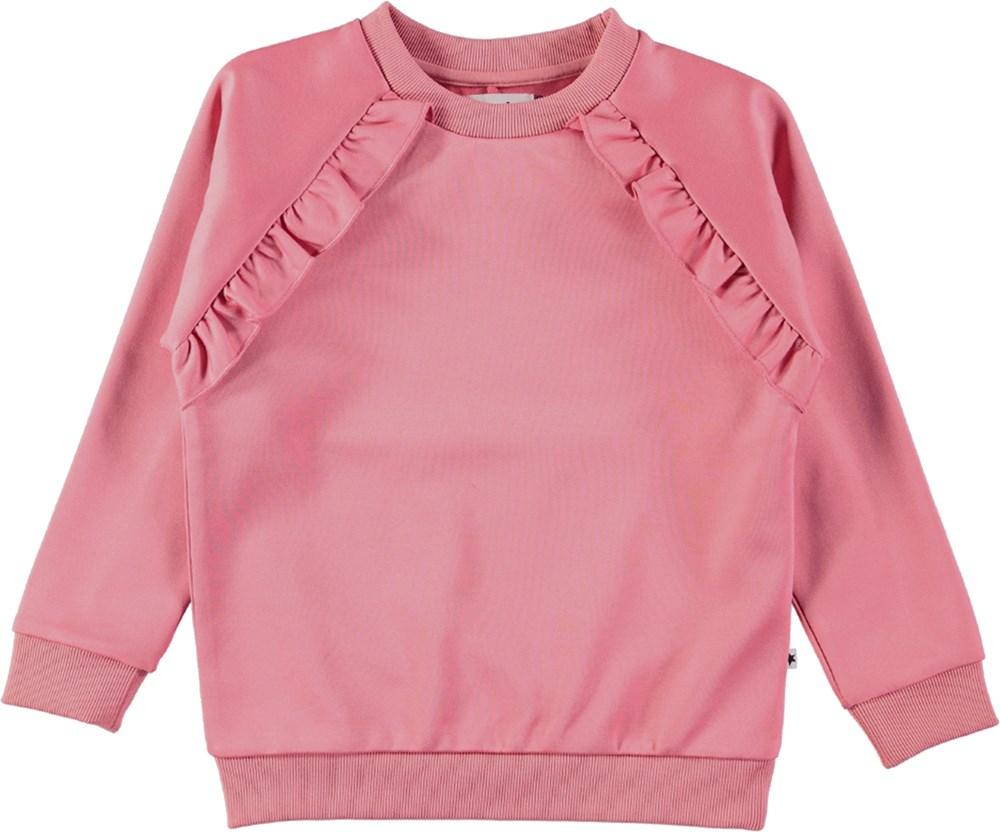 Michaela - Tea Rose - Lyserød sweatshirt med flæser