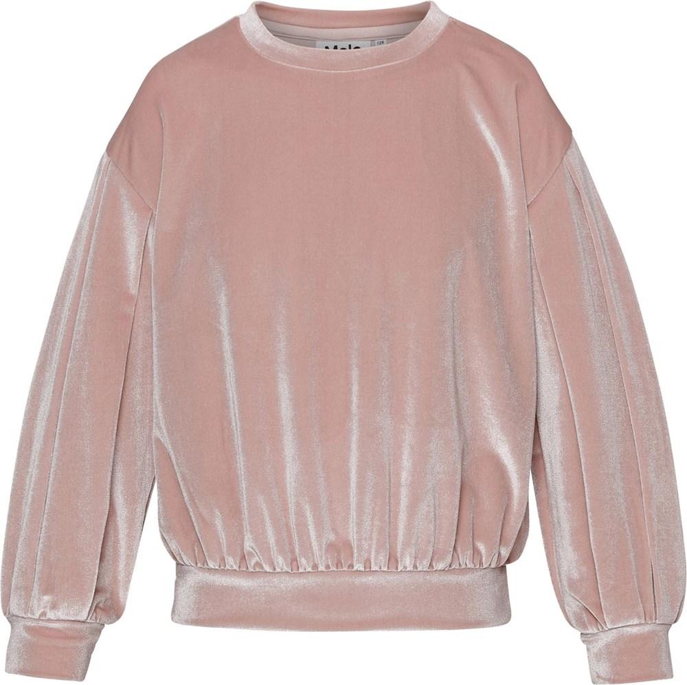 Moira - Petal Blush - Rosa velour bluse
