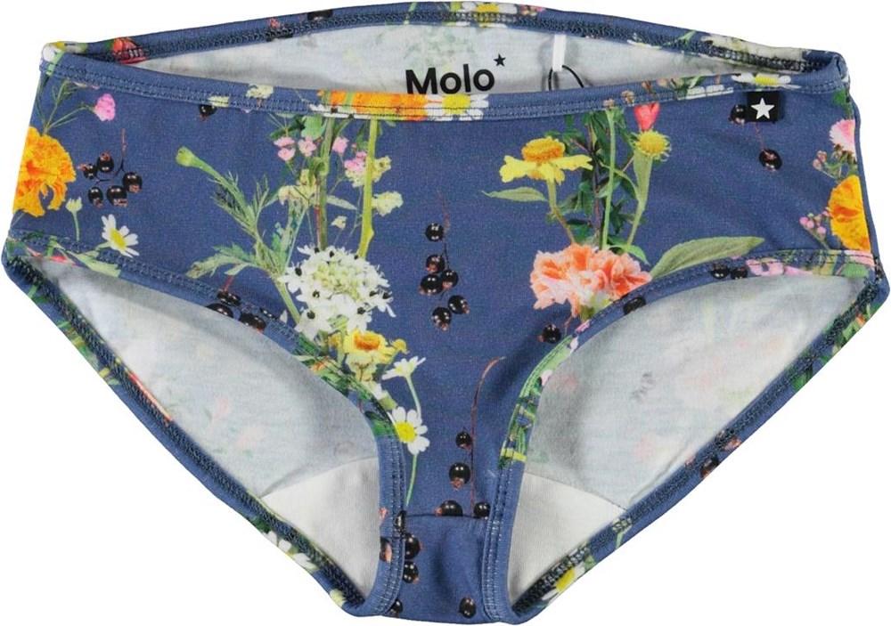 Jane - Vertical Flowers - Blå underbukser med blomster