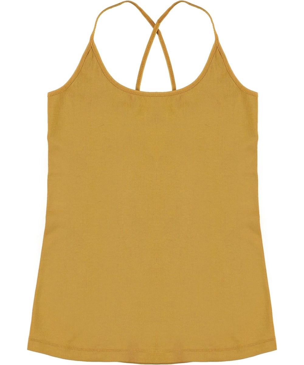 Janis - Honey - Økologisk gul top med krydsede stropper