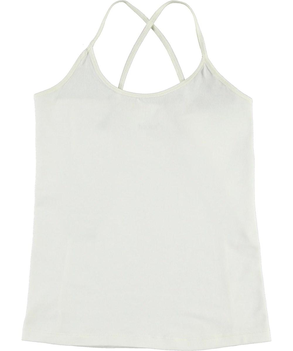 Janis - White Star - Økologisk hvid top med krydsede stropper