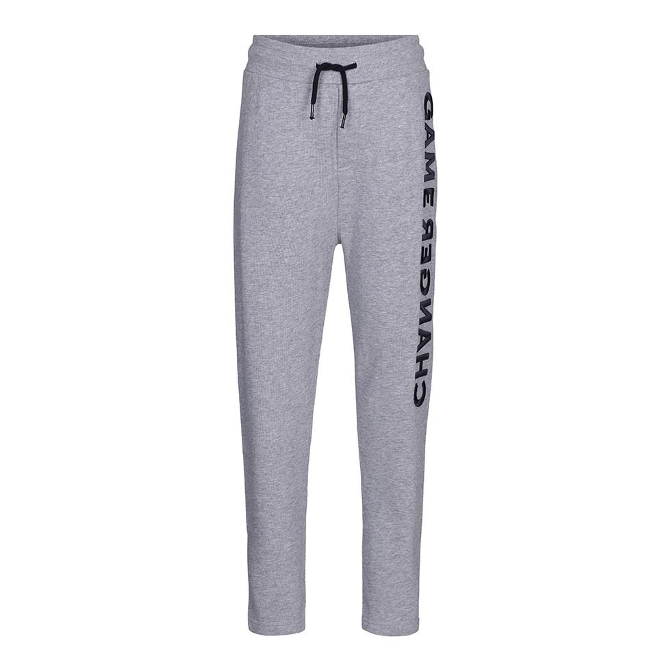 Aim - Grey Melange - Grå sweatpants med knytband och grafiska bokstäver