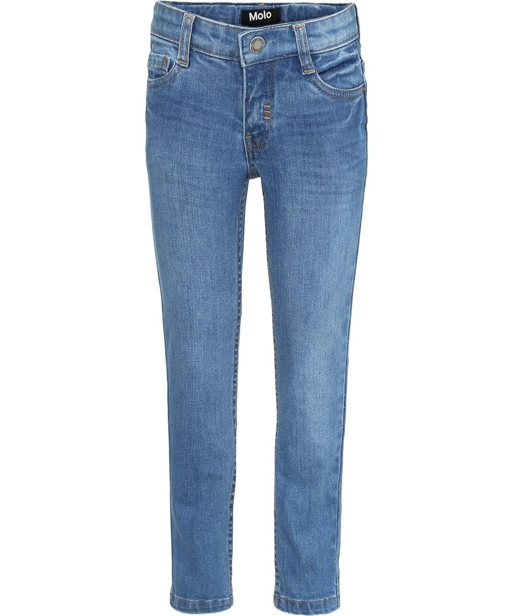 Aksel - Stone Blue - Blå slim denim jeans.