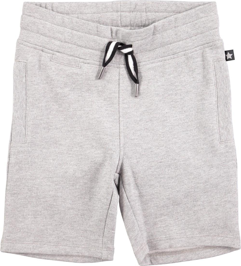 Akon - Grey Melange - grå sweatshorts med resår i midjan och fickor