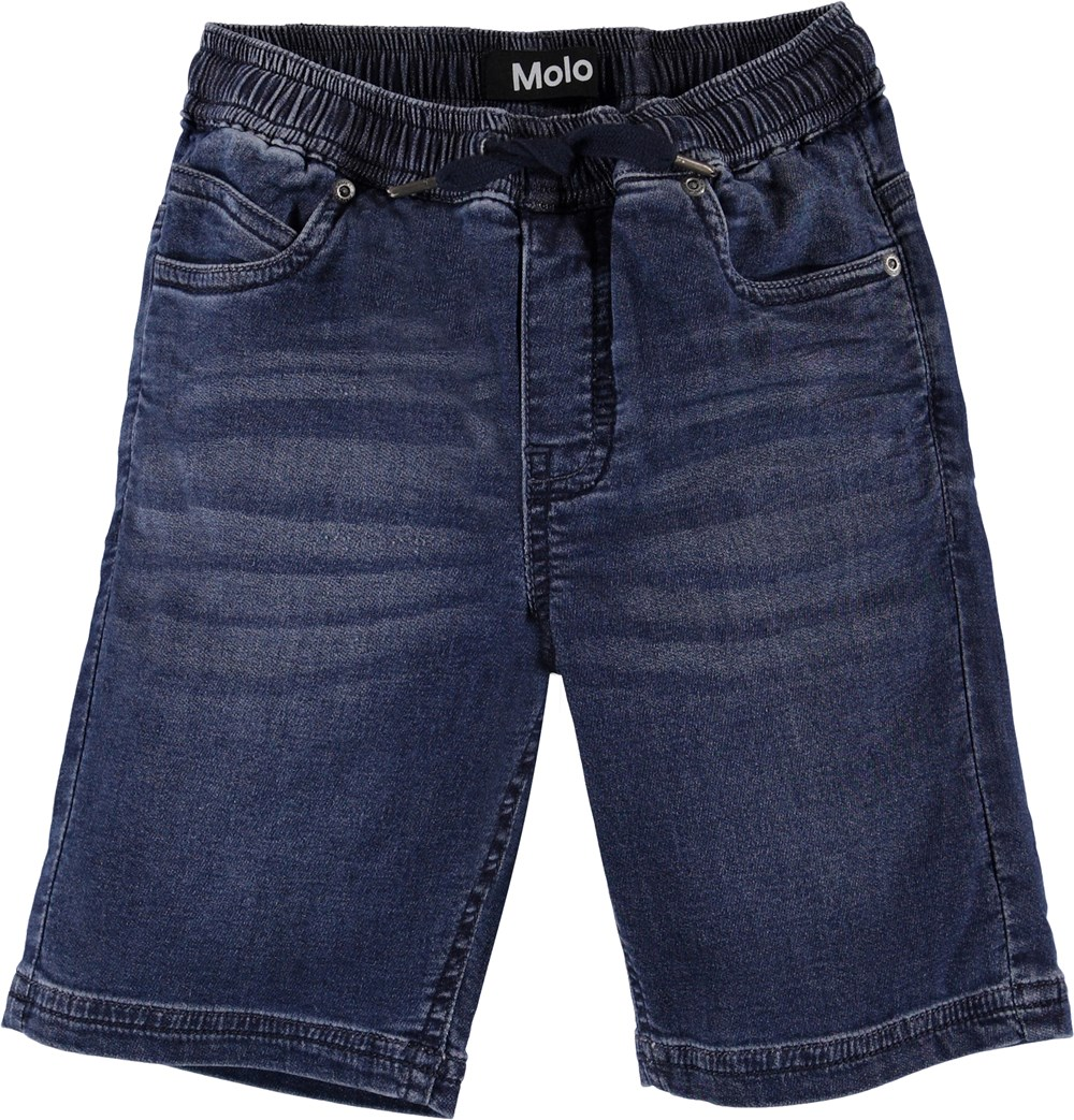 Ali - Charcoal Blue - Blå denim shorts med knytband