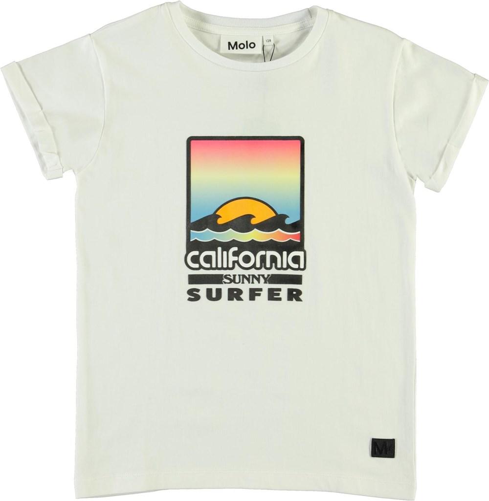 Rafe - White - Ekologisk vit t-shirt med california-tryck