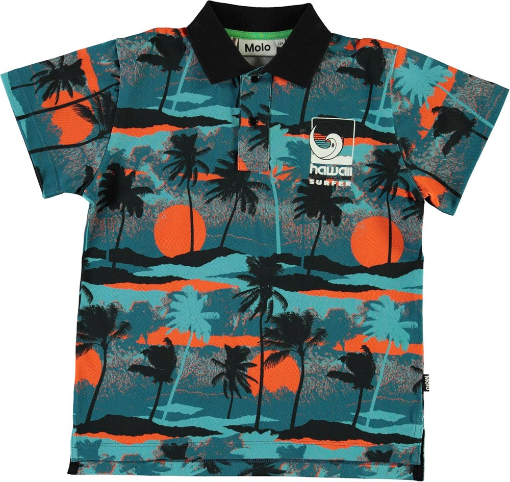 Ramon - Palm Trees Blue - Ekologisk blå polo t-shirt med palmer