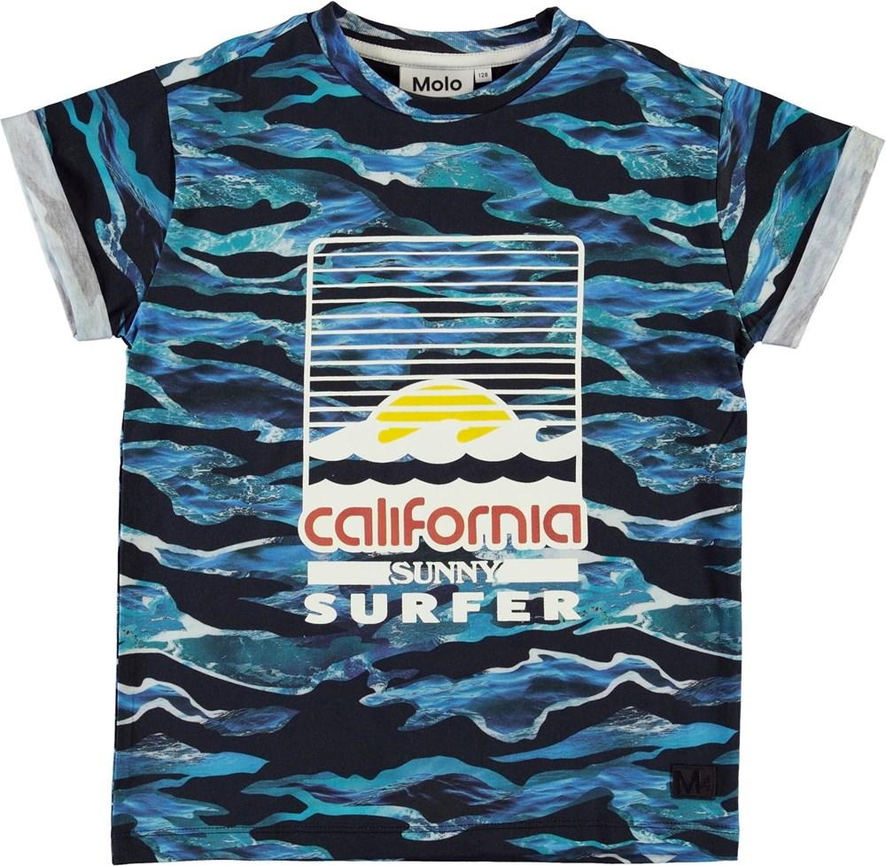 Randon - Camo Waves - Ekologisk blå california t-shirt med vågor