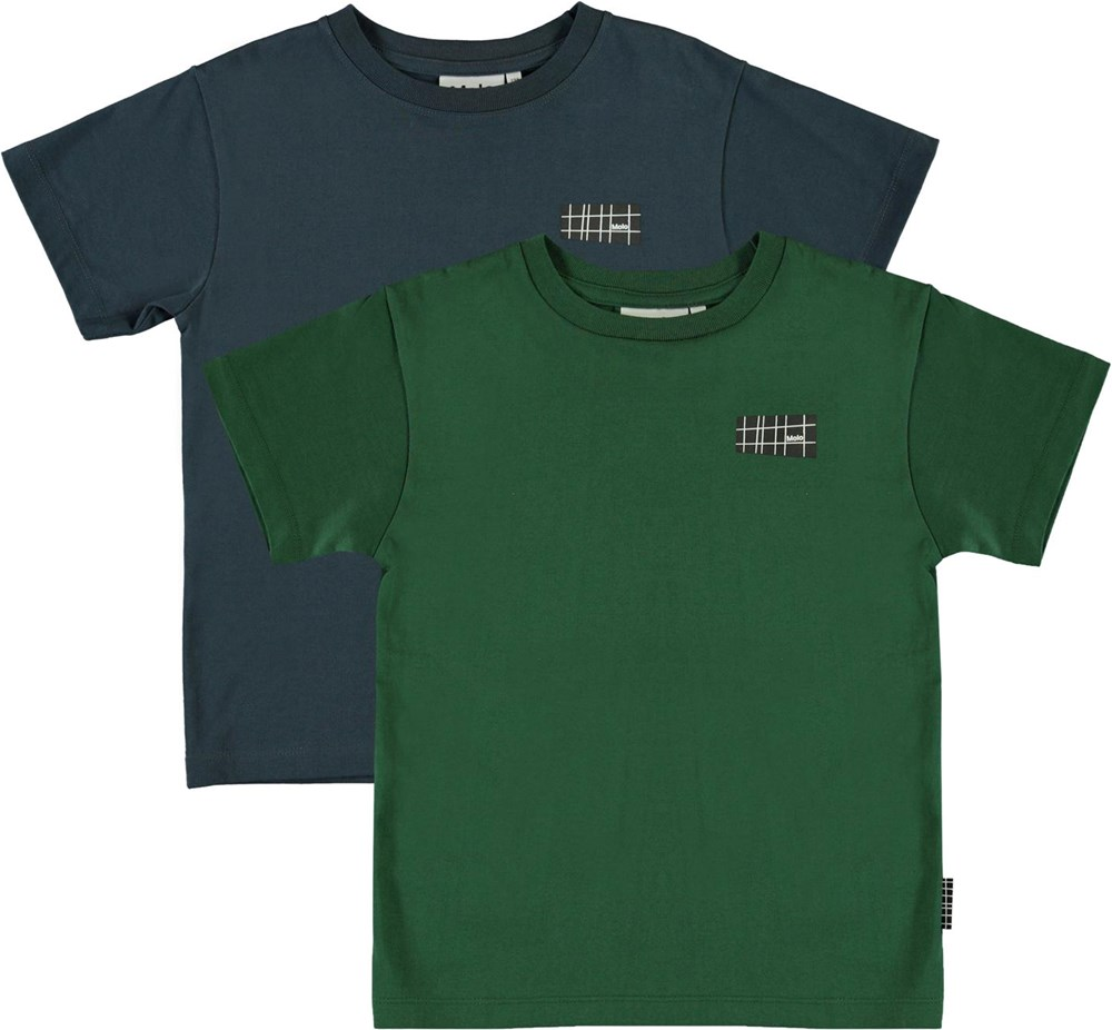 Rasmus 2-Pack - Eden - Ekologisk 2-pack blå och grön t-shirt