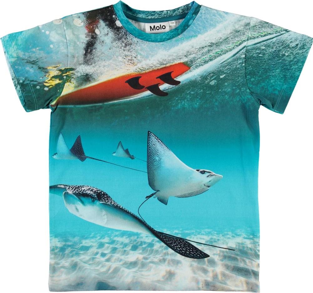 Raul - Sting Ray - Ekologisk blå t-shirt med hav och rockor
