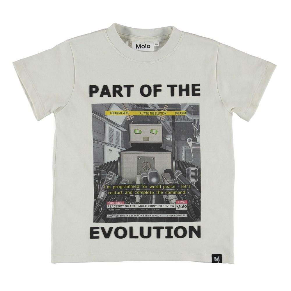Road - Peace Bot - T-shirt med robot tryck och text.