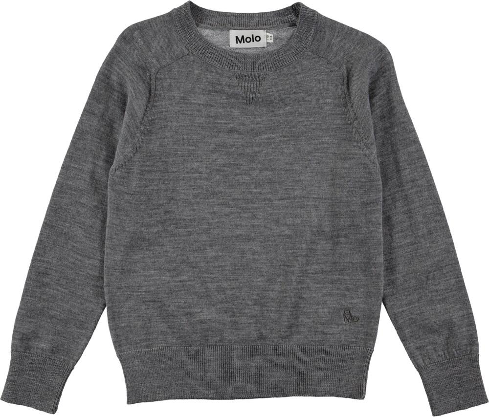 Billy - Grey Melange - Grå pullover i finstickad ull
