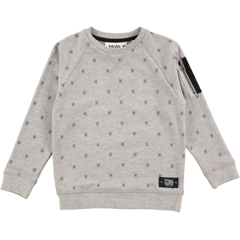 Marx Grey Melange Grå sweatshirt med tryck Molo