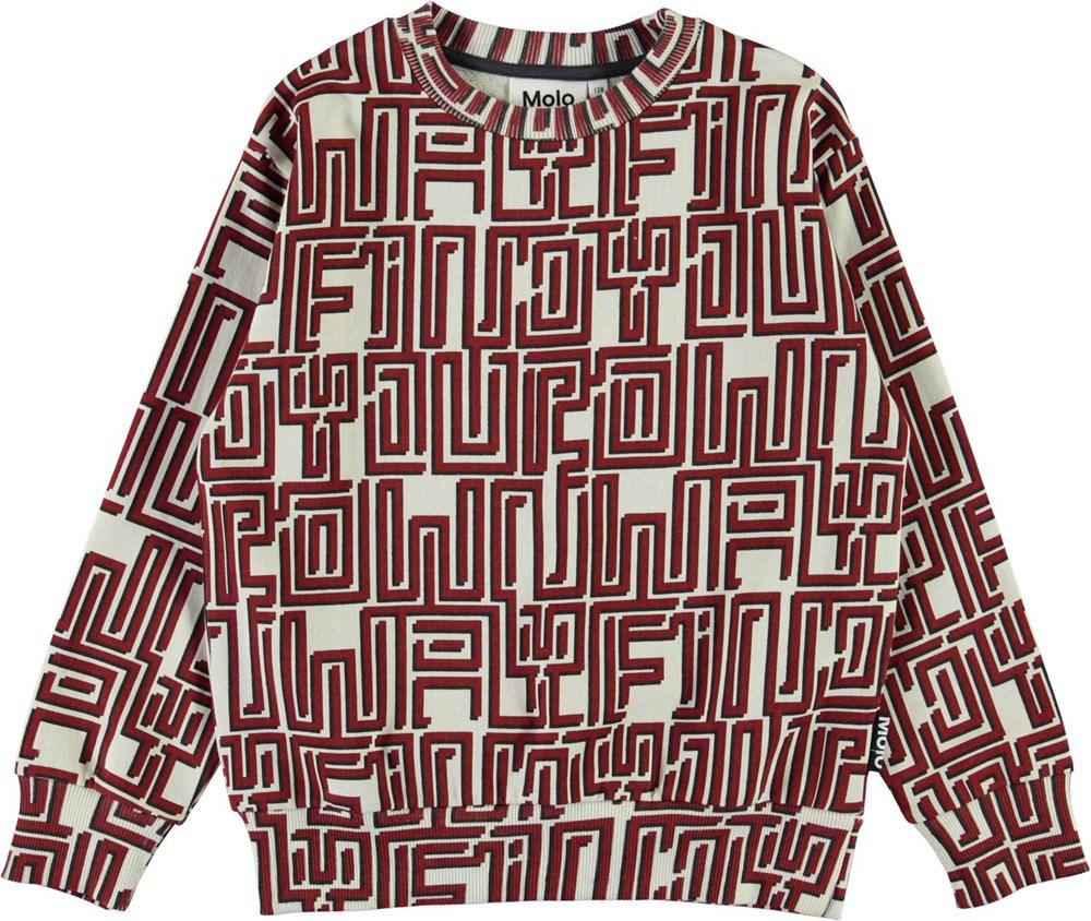 Mik - Find Your Own Way R - Ekologisk sweathshirt med röd labyrint