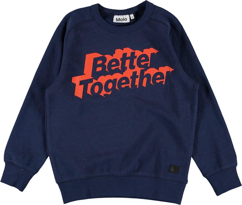 Mike - Sailor - Blå sweatshirt med text