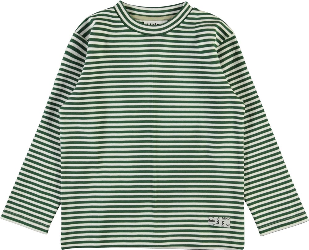 Mikhail - Green Stripe - Grön och vit randig sweatshirt