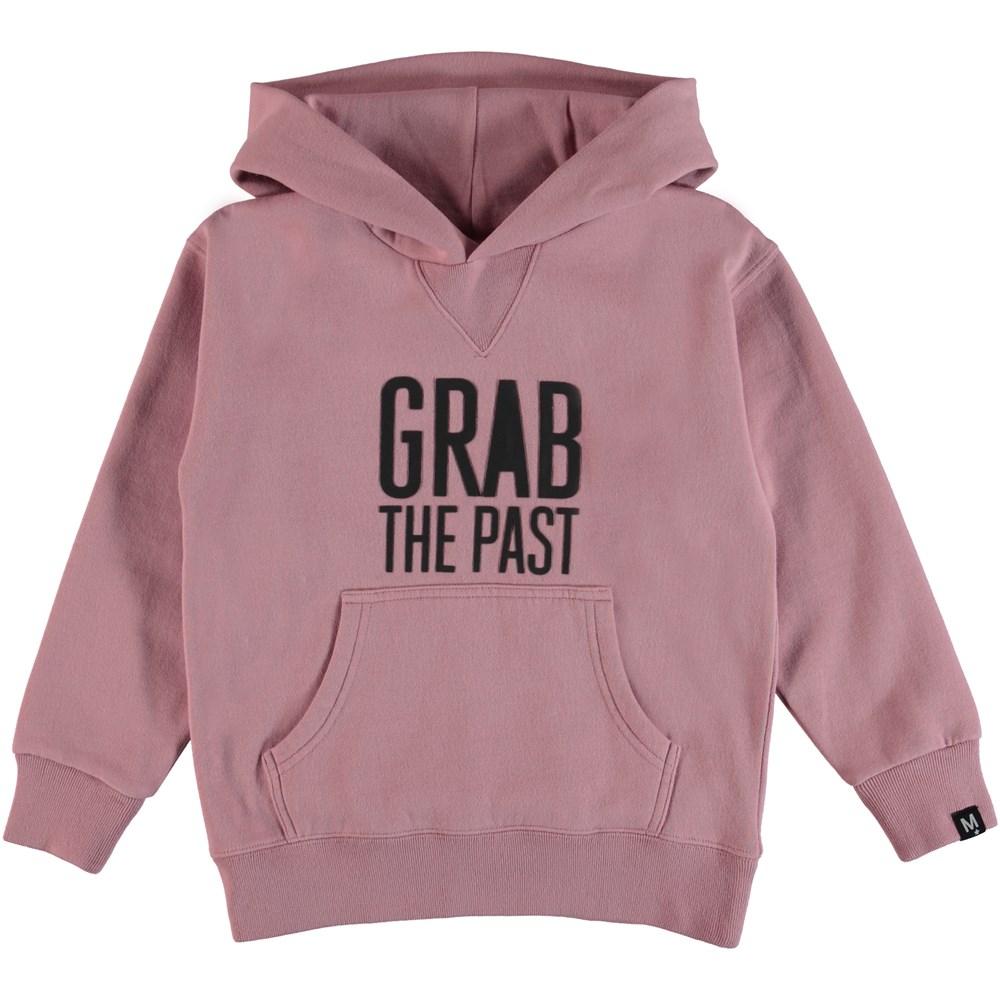 Monez - Pink Granite - Rosa sweatshirt med gummi tryckt text.