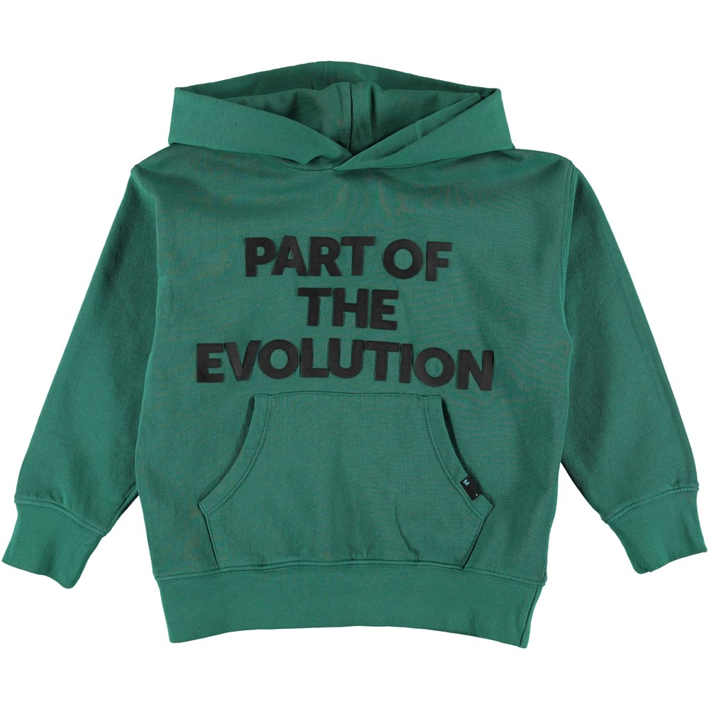 Monty - Galapagos Green - Grön sweatshirt med gummi tryckt text.