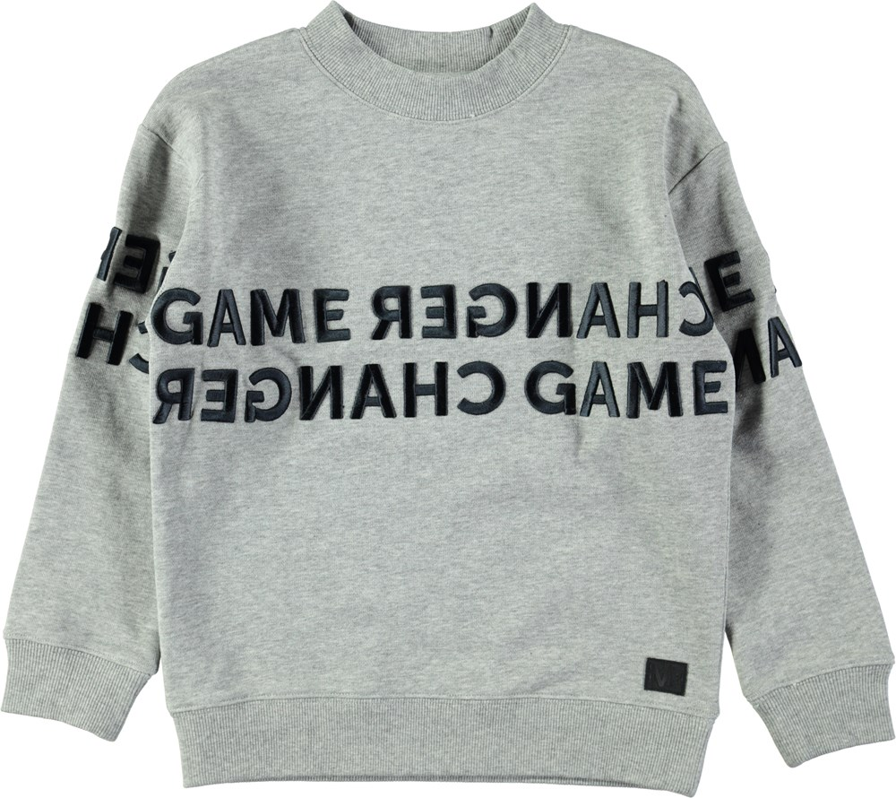 Morrison - Grey Melange - Grå sweatshirt med grafisk text