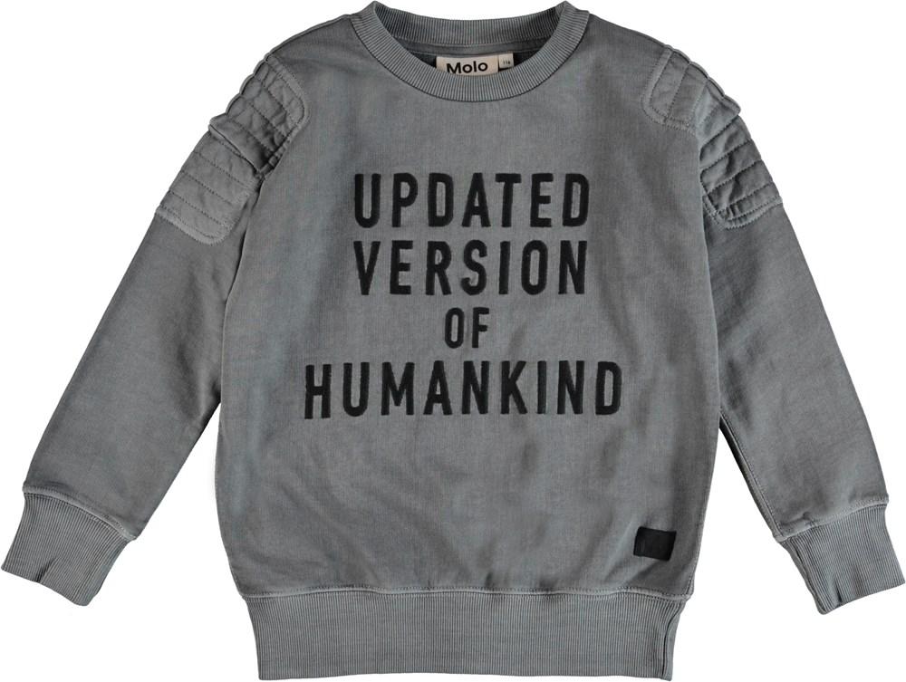 Mozi - Pewter - Grå sweatshirt med broderad text.