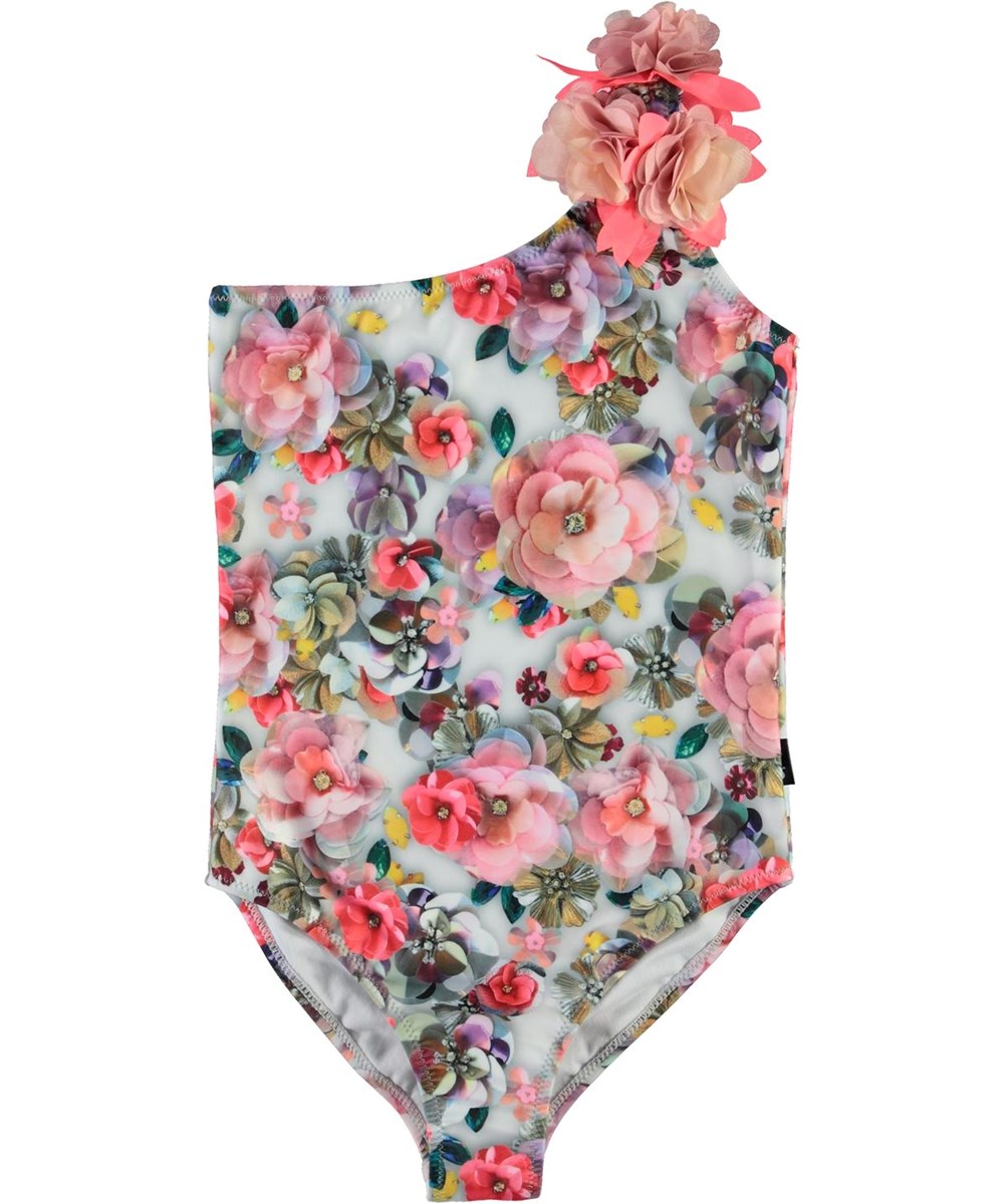 Nai - Sequins Flowers - UV asymmetric swimsuit with flowers