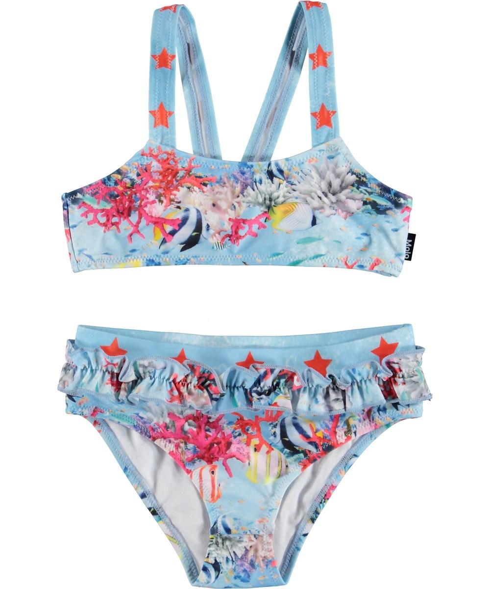 Naila - Coral Stripe - Light blue UV bikini with a coral print