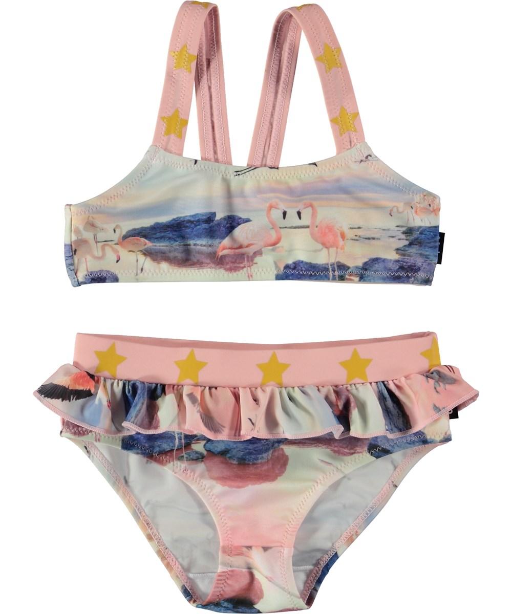 Naila - Flamingo - Pink bikini with star straps.