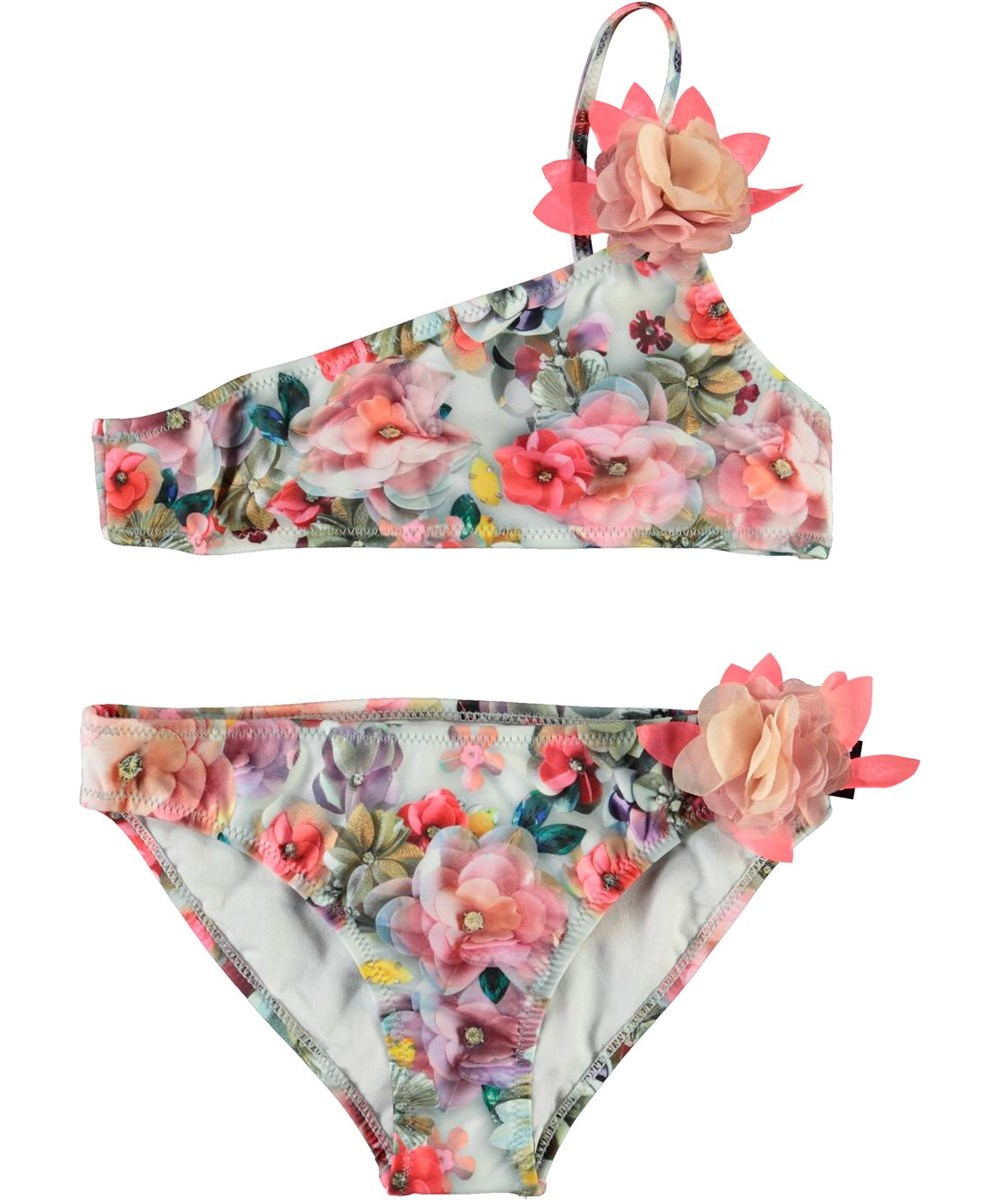 Naja - Sequins Flowers - UV asymmetric bikini with flowers