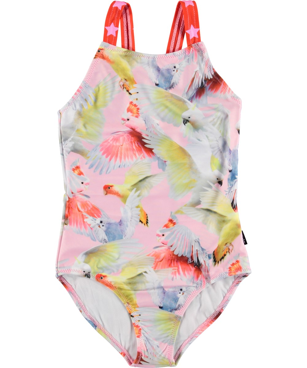 Nakia - Cockatoos - UV swimsuit with parrots and stars on straps