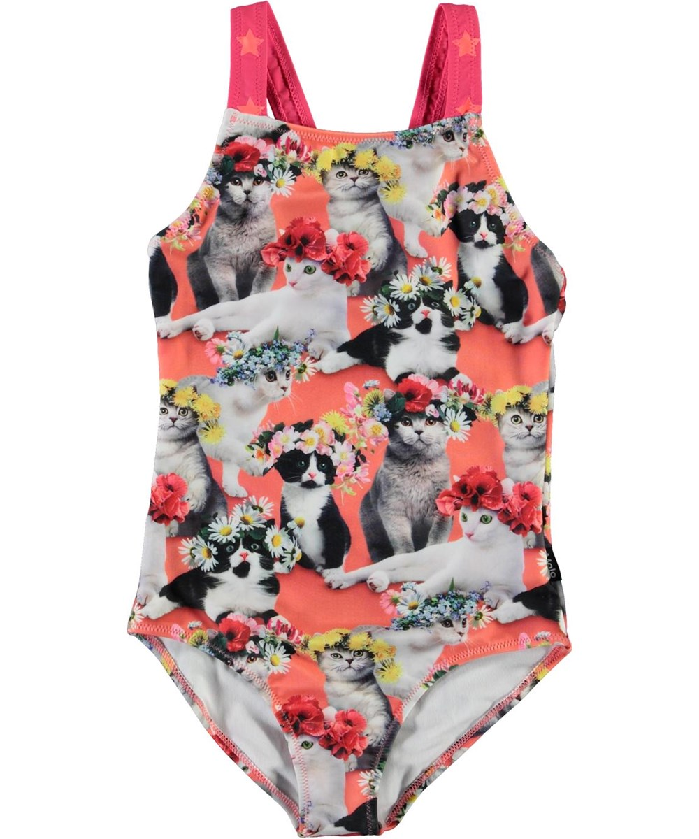Nakia - Flower Power Cats - UV swimsuit with cat print and stars