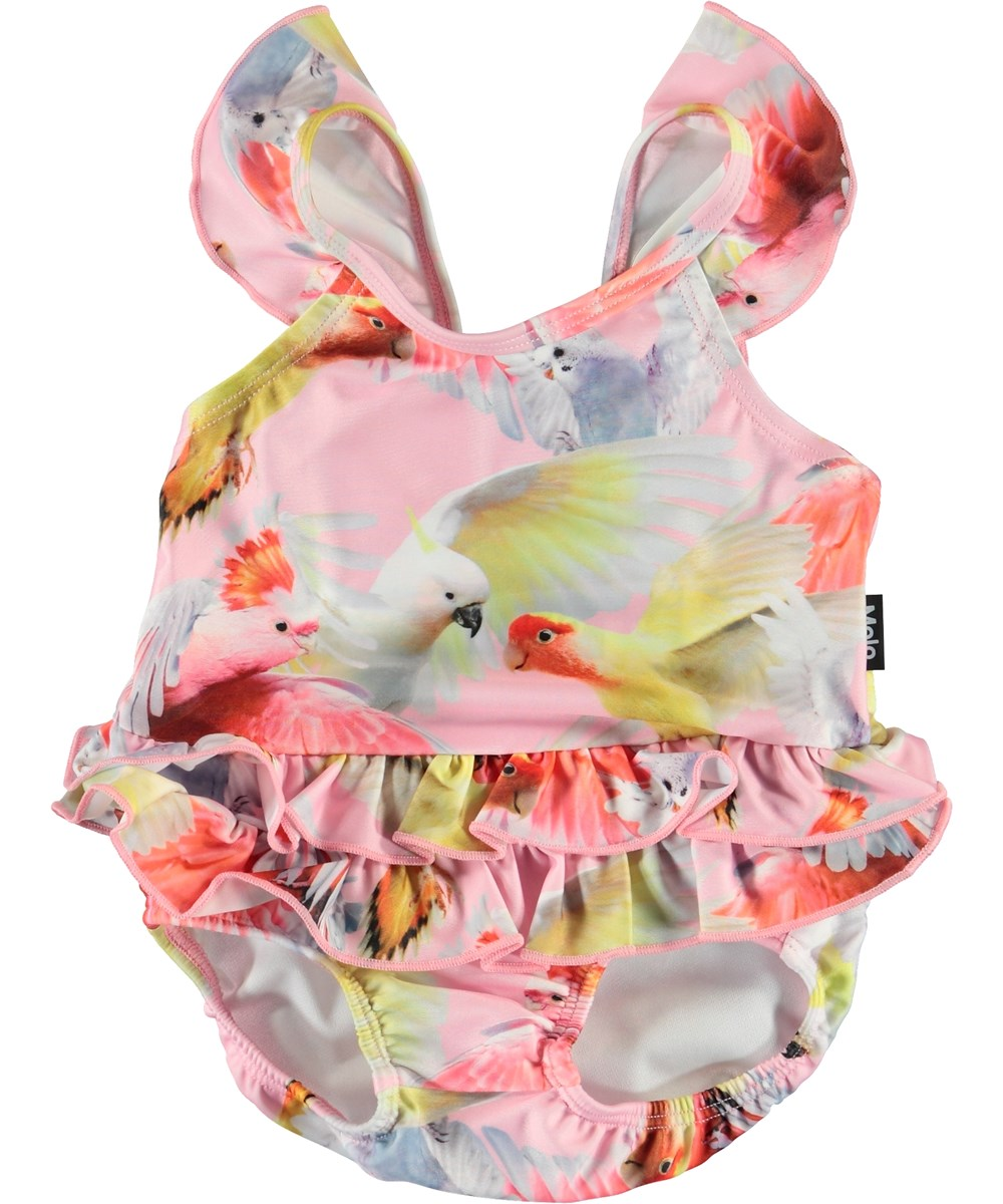 Nalani - Cockatoos - Baby UV swimsuit with parrot print