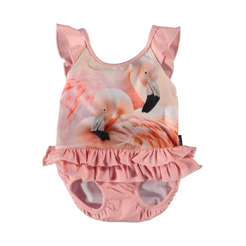 Nalani - Flamingo Dream - Pink baby swimsuit with flamingos.