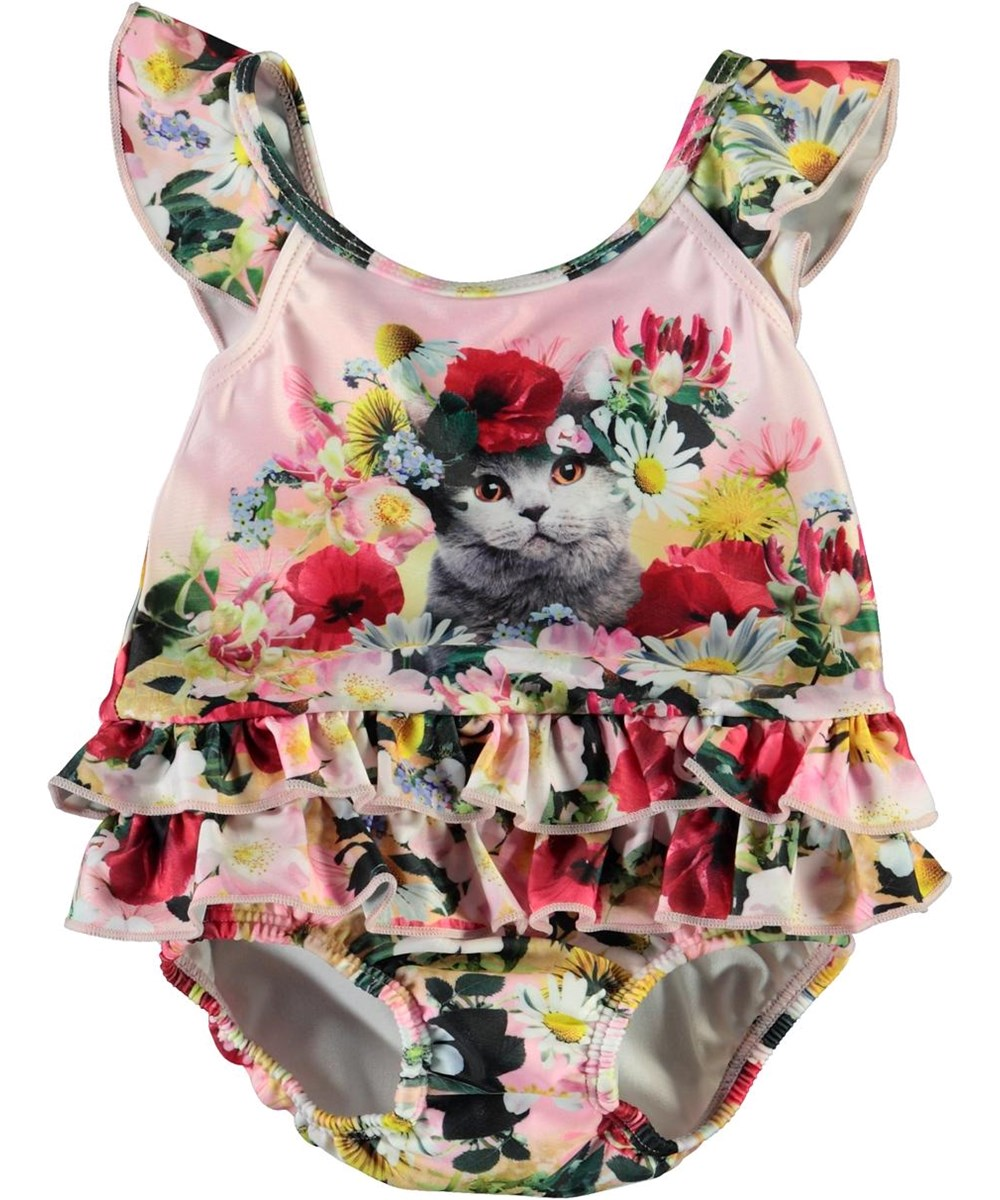 Nalani - Flower Cat - UV baby ruffle swimsuit with flower cat