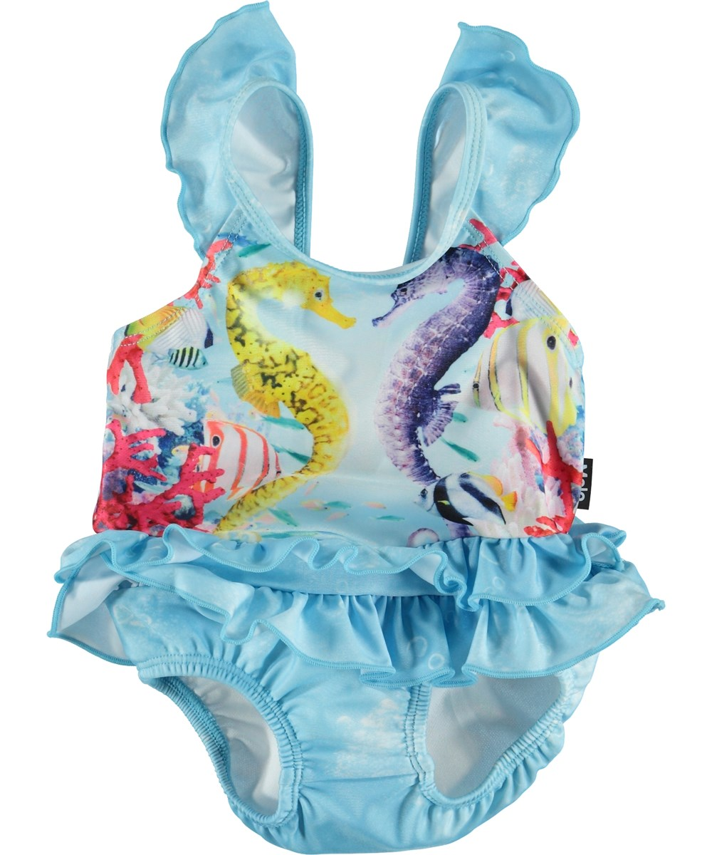 Nalani - Seahorses - Light blue baby UV swimsuit with sea horses