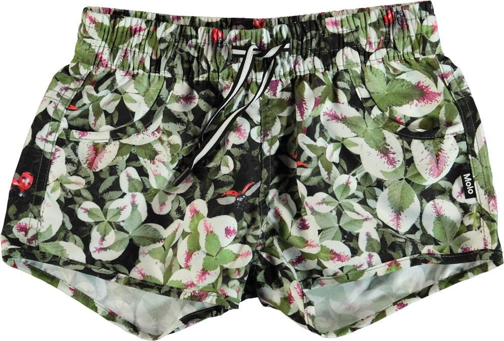 Nalika - Clover - Green swim trunks with clovers.