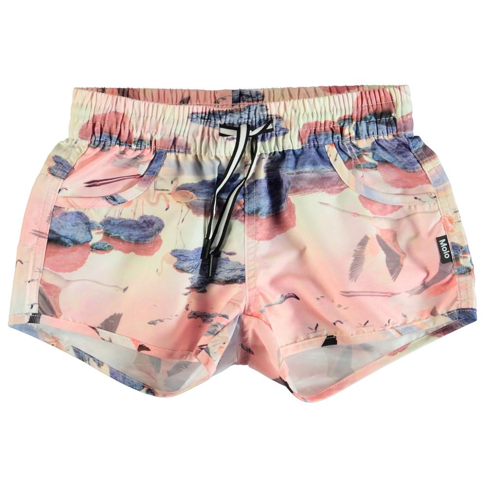 Nalika - Flamingo - Pink swim trunks with flamingos.