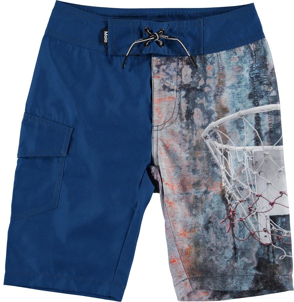 Nalvaro - Basket - Long UV swim trunks with basketball print