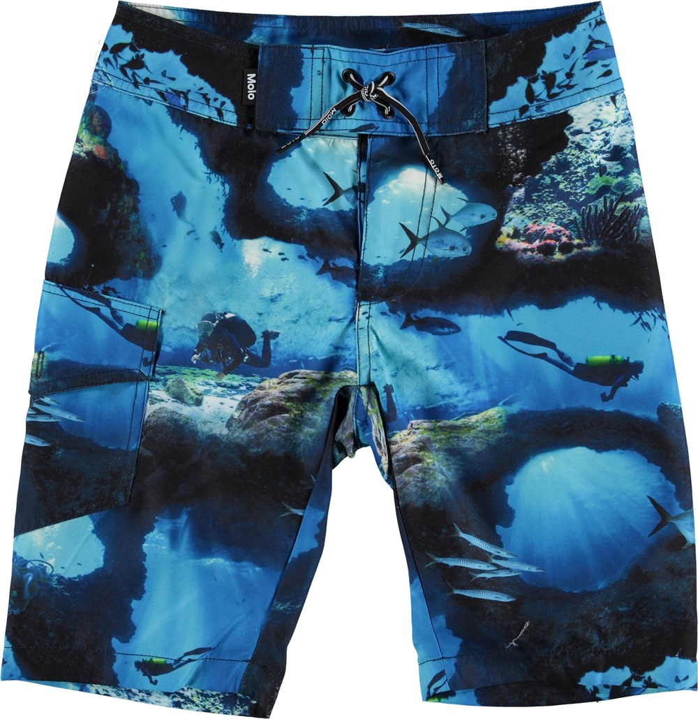 Nalvaro - Cave Camo - Long UV swim trunks with diver print