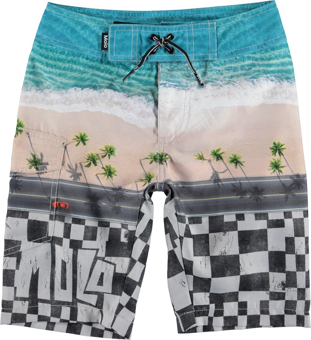 Nalvaro - Playa - Long UV swim trunks with beach print